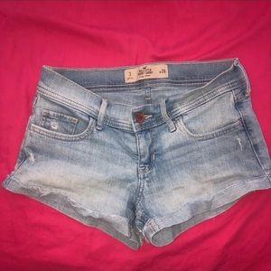 Medium wash jean shorts